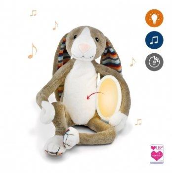 Музыкальная мягкая игрушка Zazu кролик БО с ночником