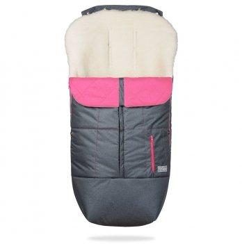Зимний конверт в коляску на овчине ДоРечі Trend Графитовый/Розовый