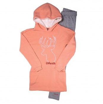 Домашний костюм для девочки Ushuaia Олень розово-серый