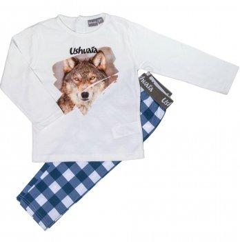 Пижама для мальчика Ushuaia Волк молочно-синяя