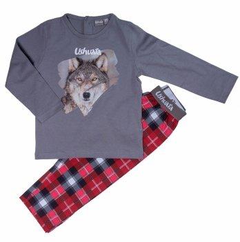 Пижама для мальчика Ushuaia Волк серо-красная