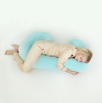 Подушка для беременных модель С Мои Подушки, наволочка велюр мятный