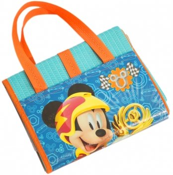 Пляжная сумка-коврик с надувным подголовником, Микки и веселые гонки (Mickey Roadster Racers) голубой, 75x150 см