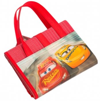 Пляжная сумка-коврик с надувным подголовником, Тачки 3 (Cars 3) красная, 75x150 см