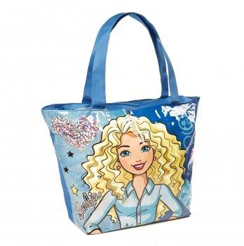 Пляжная сумка, Arditex Барби (Barbie) голубая. 52х40 см