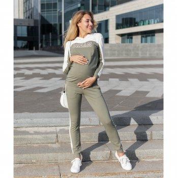 Спортивный костюм для беременных Юла мама Willow Оливковый/Молочный ST-30.031