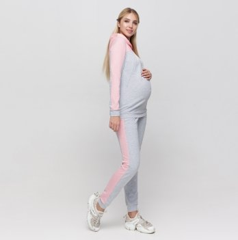 Спортивный костюм для беременных Юла мама Willow Серый/Розовый ST-30.034
