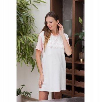 Ночная рубашка для кормления и беременных Юла мама Yasmin Молочный/Розовый NW-1.11.1