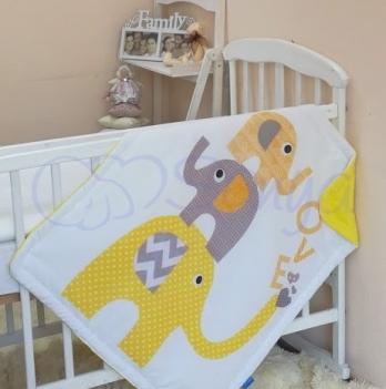 Плед Арт дизайн №10 Желтые слоники, Маленькая Соня