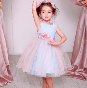 Нарядное платье FERLIONI, FB 7236 голубое с розовым