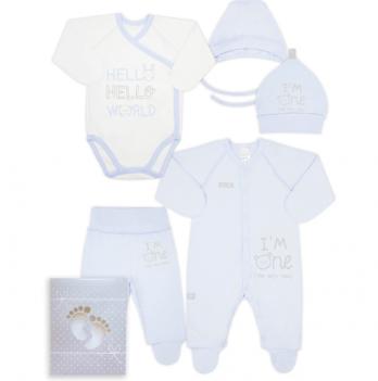 Комплект для новорожденного из 5-ти предметов, возраст от 0 до 3 месяцев, голубой, SMIL