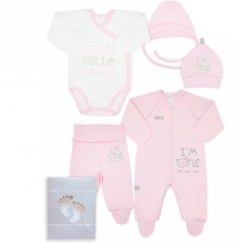 Комплект для новорожденного из 5-ти предметов, возраст от 0 до 3 месяцев, розовый, SMIL