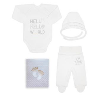 Комплект для новорожденного из 3-ех предметов, возраст от 0 до 3 месяцев, белый, SMIL