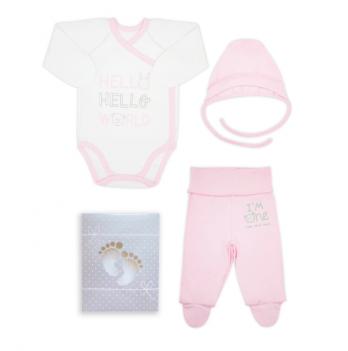 Комплект для новорожденного из 3-ех предметов, возраст от 0 до 3 месяцев, розовый, SMIL