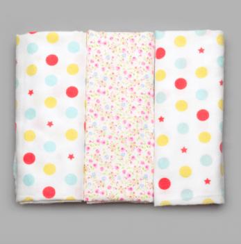 Комплект байковых пеленок для девочек, Модный карапуз, 3 шт.