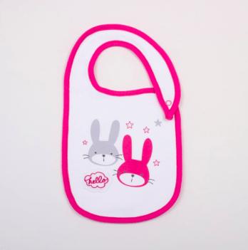 Слюнявчик Veres Hello Bunny white-pink интерлок