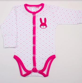 Боди Veres Hello Bunny white-pink интерлок закрытая евроручка