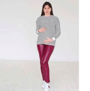 Леггинсы для беременных женщин MBerry dress, из кожзаменителя, вишневые