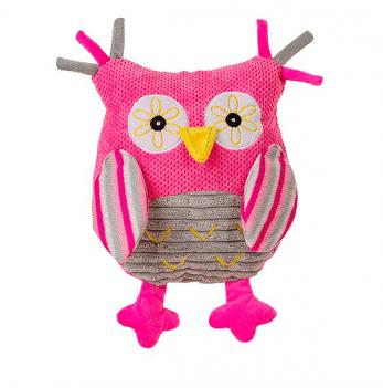 Мягкая игрушка с погремушкой BabyOno Сова, 1255 розовая