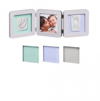 Фоторамка с набором для создания отпечатков Baby Art тройная, бело-серая