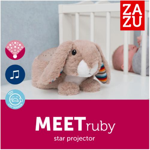 Ночник-Проектор звёздного неба с успокаивающими мелодиями Zazu RUBY Кролик