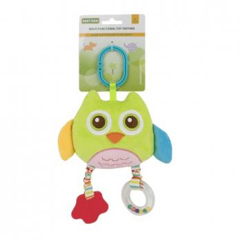Мягкая многофункциональная игрушка-прорезыватель Baby Team 8533 Сова салатовая