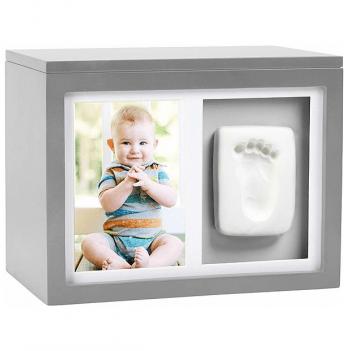 Шкатулка Memory Box с глиняным отпечатком Pearhead P62002 серая
