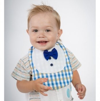 Слюнявчик для мальчика MagBaby Маэстро сине-желтая клеточка