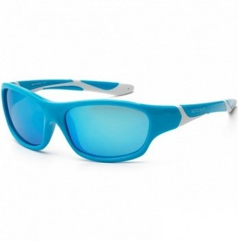 Детские солнцезащитные очки Koolsun серии Sport, размер: 3+, бирюзово-белые