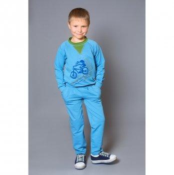 Джемпер для мальчика Модный карапуз, Mountain bike, голубой с зеленым