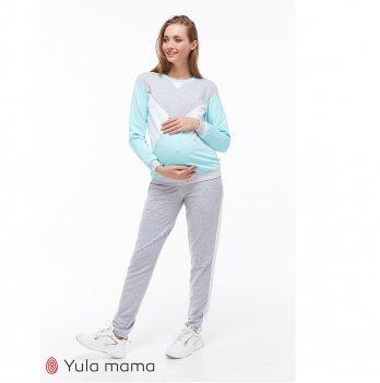 Костюм для беременных и кормящих MySecret Olbeni ST-39.012 серый меланж/белый/аквамарин