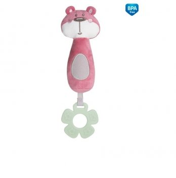 Игрушка плюшевая с прорезывателем и пищалкой Canpol babies Pastel Friends Розовый 68/068