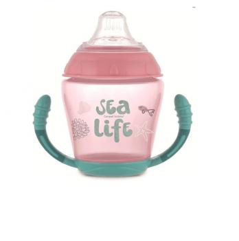 Кружка-непроливайка с мягким силиконовым носиком Canpol babies Sea Life, 230 мл, розовая