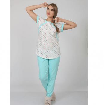 Пижама для беременных и кормящих, MySecret, разноцветные горошки/ментол