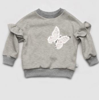 Свитшот Модный карапуз Бабочка, серый