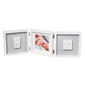 Тройная рамка квадратная Baby Art 3601095500 бело-серый