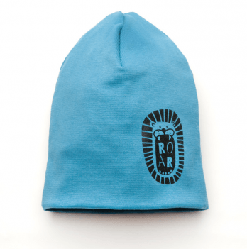 Шапка трикотажная для мальчика Модный карапуз Лев, синяя