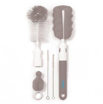 Комплект щеток BabyOno для бутылочки и соски, со сменной ручкой, серый