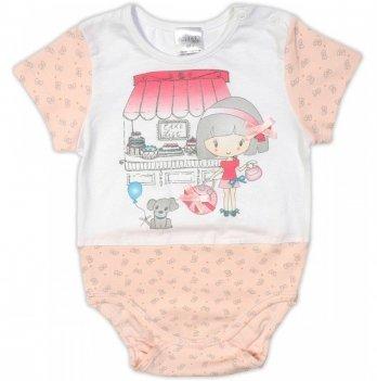Боди-футболка для девочки Garden baby, персиковые бантики, 19906-03