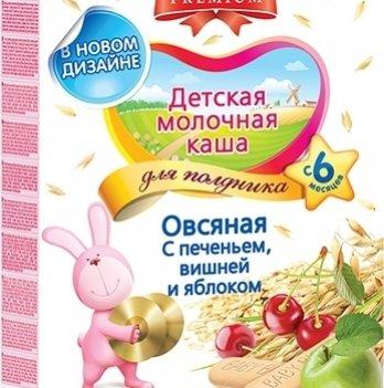 Каша овсяная Kolinska Bebi PREMIUM, молочная, для полдника, с печеньем, вишней, яблоком 200 г