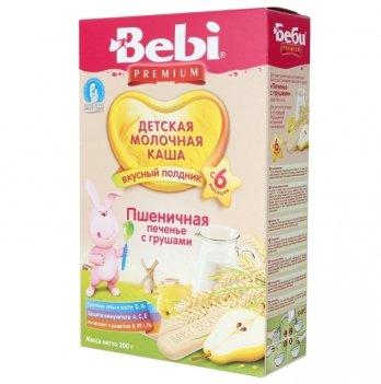 Каша пшеничная Kolinska Bebi PREMIUM, молочная, для полдника, с печеньем и грушей, 200 г