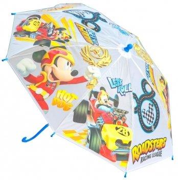 Зонт Disney Микки и веселые гонки, механический, голубой/желтый