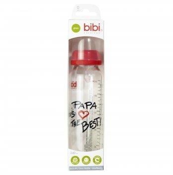 Премиум бутылочка bibi® из супер прочного стекла, 240 мл. с соской, форма Дентал