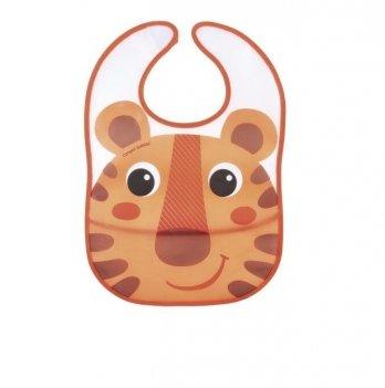 Слюнявчик пластиковый с карманом Canpol babies Hello Little Оранжевый 9/232