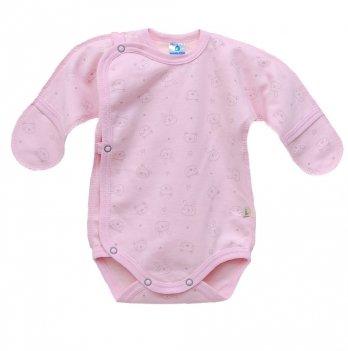 Боди для новорожденных футер Minikin Зайцы 00501, розовый