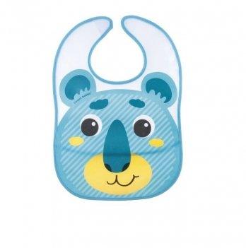 Слюнявчик пластиковый с карманом Canpol babies Hello Little Бирюзовый 9/232