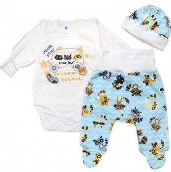 Комплект для новорожденных футер Minikin Крошка Енот, 3 предмета, молочный