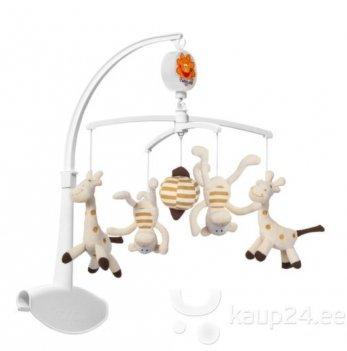 Мобиль-карусель музыкальный для кроватки BabyOno Жирафы и обезьяны, 1367