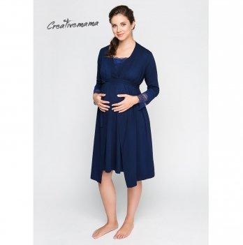 Комплект для беременных и кормящих Creative Mama халат + ночная рубашка Royal