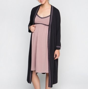 Комплект в роддом Creative Mama DOLCE, халат+ ночная сорочка для беременных и кормящих (хлопок)